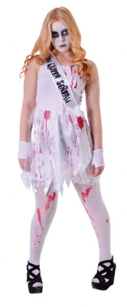 Girls Bloody Prom Queen Costume Bleeding Wound Vampire Fancy Dress Outfit